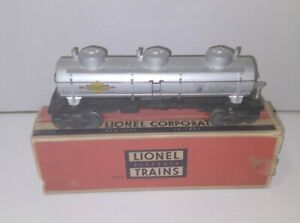 LIONEL #6415 SUNOCO 3 DOME TANK CAR NO NUMBER CAPACITY 8000 GALS. W/OB