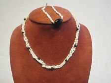 14k Gold Fresh Water Pearl & Onyx Necklace and Bracelet Jewelry Set