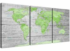 Large Lime Green Grey World Map Atlas Canvas Wall Art Print - Split 3 Set - 3301