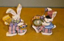 Kurt Adler Spring Town Village Drum Bunny & Easter Tales Book Bunny