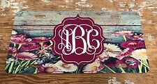 Monogram License Plate Flower Wood Patterns Personalized Car Tag New