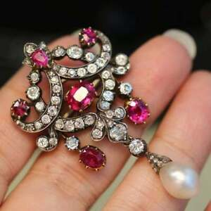 Antique Rose Cut Diamond And Pearl Ruby Brooch Pin in 14K Yellow Gold Over RARE