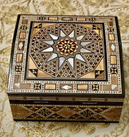 Beautiful Jewelry Mosaic Wooden Handmade Box Inlaid With Mother Of Pearl