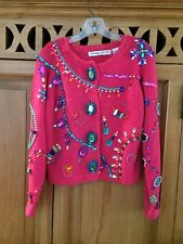 Michael Simon Vibrant Pink multi-jeweled Sweater Button Cardigan One Size L@@K!!