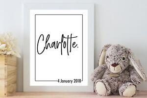 Personalised Birth Keepsake Baby Name Art | Birth Poster | Monochrome | Digital