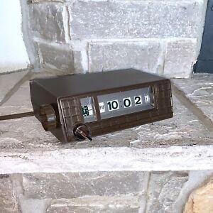 Working Sony DT-30 Japan Made Rolling Number Wood Grain Vintage Alarm Clock MCM