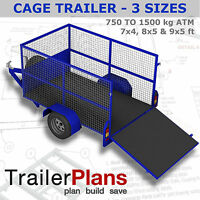 Trailer Plans - CAGE TRAILER PLANS - 3 Sizes included - PLANS ON USB Flash Drive