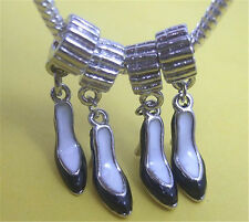 Wholesale HOT 30Pcs Super Good Charm Black Shoes Tibetan Silver Pendants Beads