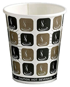 4oz Mocha Disposable Paper Hot Drink Coffee/Tea Catering Cup 50s,1000s