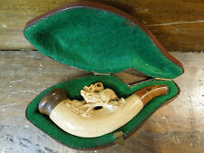 Vintage Carved Deer or Stag Wooden Smoking Pipe With Case