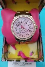 Betsy Johnson Pink Faced Rhinestone Studded Watch