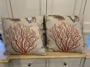 Set Of 2 Pottery Barn Coral & Sea Life Canvas Pillows 19x19 EUC