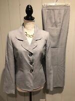Le Suit Womens Gray Suit Blazer Jacket & Pants Lined Sz 8 P