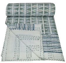 Hand Block Print Twin Cotton Kantha Quilt Throw Blanket Bedspread Single Gudari