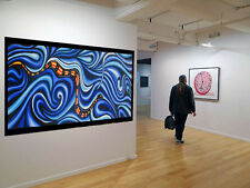 Art Painting Original Blue  Modern Sea Snake dots By Jane Crawford aboriginal