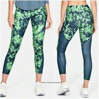 NWT UNDER ARMOUR Women HeatGear Print Ankle Crop Leggings Blue/Green SELECT SIZE