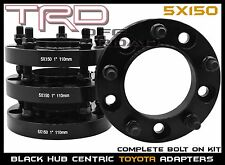 """2007-2018 Toyota Tundra 1"""" Black Hub Centric Wheel Spacers Adapters Made In USA"""