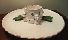 BRIGGS POTTERY SIGNED CHRISTMAS REINDEER HOLLY & BERRIES PLATTER DISH CHIP DIP