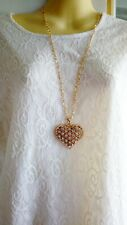 Womens Long Gold Chunky Heart Pendant Necklace