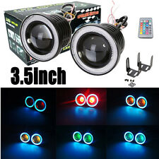 "3.5"" RGB Led Projector Fog Light COB Ice Blue Halo Angel Eye Ring Daytime Lamps"