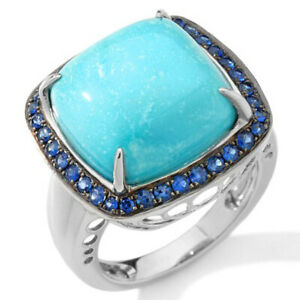HSN Heritage Gems Cloud Turquoise and Sapphire Sterling Cushion Ring 9 $497