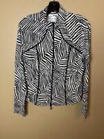 Joseph ribkoff Women's Top Size 12 Zipper Front Zebra Pattern Long Sleeve Rr