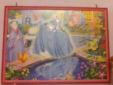 quadro con immagine di cenerentola in puzzle,cameretta bimba cornice cm 72*52*2