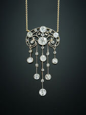 GENUINE ART NOUVEAU FRENCH 3.21 Ct DIAMOND PENDANT ANTIQUE NECKLACE