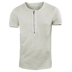 T-Shirt Uomo Girocollo Maglia con Zip Maglietta Cotone Casual GIROGAMA 6431IT