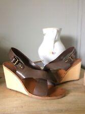 Sandalias de ceniza 7/40 Cuero de Diseño de Calidad Cuña Zapatos Rrp £ 135