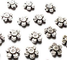 25 Flower Spacer Beads Charm 10mm Silver Plated Daisy Jewellery Craft Hole 1.2mm