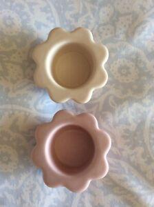 2 X Laura Ashley Pink Flower Tealight Holders