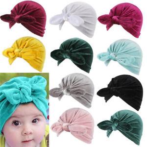 Turban Hats Baby Infant Velvet Baby Beanie Baby Girl Bun Knot Toddler Soft Cute