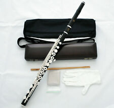 Professional Ebony Wooden Silver SR C# Trill Flute B Foot Split E With Wood Case