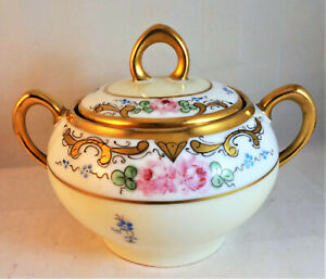 ZS & Co Scherzer Pink Rose Lidded Sugar Bowl Handled Pale Yellow Gold Trim