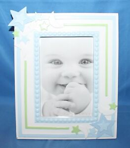 """First Impressions Boys Stars Moons Blue White Baby Picture Frame 4"""" X 6"""""""