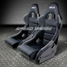 X2 NRG BLACK CLOTH FIBER GLASS BUCKET RACING SEATS+SIDE MOUNT BRACKET FRP-311