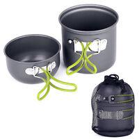 Camping Hiking Picnic Cookware Cook Cooking Pot Bowl Set Aluminum Outdoor Salabl