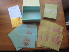 14 PAPYRUS NOTE CARDS IN HARD BOX–2 DIFFERENT STYLES–7 OF EACH & 16 GREEN ENVELO