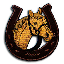 Horse Horseshoe Patch Iron on Cavalry Animal Badge Sew Car Biker Racing Sport