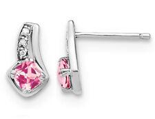 4/5 карат (Ctw) создан в лаборатории Розовый сапфир серьги из чистого серебра