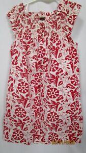 Tea Collection Red White Cotton Sun Dress 7 Elastic Smocked Neckline Straps