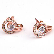 18K Rose Gold Filled Double Circle Round Crystal Micropave Stud Post Earring ZG4