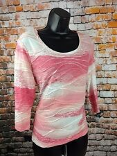 Chicos Zenergy 1 size 8 Medium Blouse Pink White Stretchy 3/4 sleeve a35