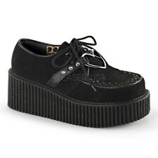 "Demonia Huge 3"" Black Fuzzy Vegan Heart Stud Creepers Punk Goth Mod Womens 6-11"