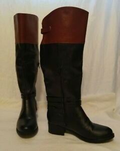 RAMPAGE KNEE HIGH BOOTS SIZE 8 Wide 8W -  BLACK AND BROWN New In Box