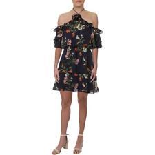 Parker Womens Navy Chiffon Halter Party Mini Dress BHFO 2809