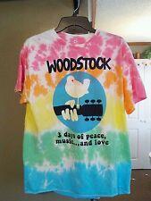 Woodstock Bird on Guitar Tie Dye Mens Retro T-Shirt Brand New X-Large