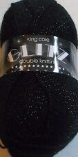 King Cole Glitz Double Knitting 480 Jet Yarn Flat Rate Postage £2.50 per Order