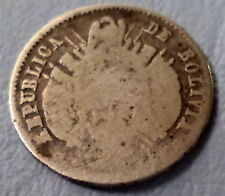 BOLIVIA COIN 10 CENTS 1872 F.E AT LEFT OF THE DATE